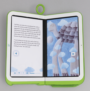 Small computer prototype; when open similar to book; when closed, green plastic tablet with plastic ring.