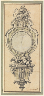 Wall clock with trophy above including a scythe and snake coiled around a globe from which is suspended a bust in profile and an allegorical figure below holding a torche and a cock seated on a bracket decorated with two rams heads on either side.