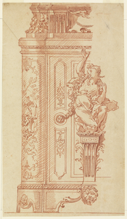 The left half of the elevation of a pedestal or of a case.  At center, on a bracket, a girl kneels.