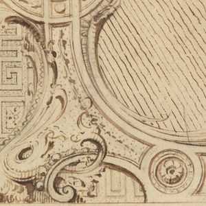 Three panels of architectural decoration, upper panel showing lower left of frame with claw foot; lower left with floral design around central framed oval; middle panel empty.  Dotted line with arrow at bottom runs down right edge.