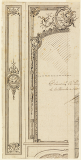 Slightly more than left half of overmantel with pilaster panel at left. The mirror frame with dragon in top center rises from top of mantel.  Decoration of pilaster includes medallion with a lion in center. A fragment of section or plan with parts of letters, lower right.  Inscribed at center right:  Cheminée et Plaq(ard)/de la chambre a couch (er).  Verso:  in opposite direction, top:  two rows of plans referring to consecutive moldings.  Annoated in margin:  Cadre des Pilastres; and A bottom; A bases (?) du Plaqcard.