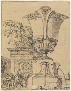A large urn, with divided handles rests on a plinth from which water issues from masks on three sides.  At left, a tree and relief of a group of standing figures.
