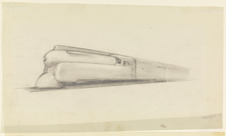 Perspective drawing of locomotive heading towards left, featuring squarish sides and rounded pilot. A preliminary sketch with little indication of detail.