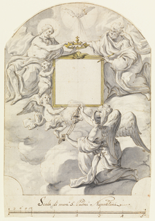 Possibly design of a patron dedication for a wall mural.  At center a black frame where portrait would sit.  Above, Jesus and God (?) hold a crown at the top of the frame.  Two winged angels look up at Jesus.  At bottom, winged angel with a helmet looks up at frame while holding a thurbile burning incense.