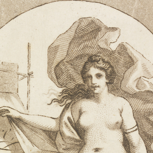 Center of circle, female nude represent the arts holds card with trade information.