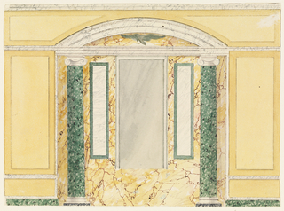 Horizontal rectangle. Wall elevation, marbled niche with mirror center, an eagle above it.