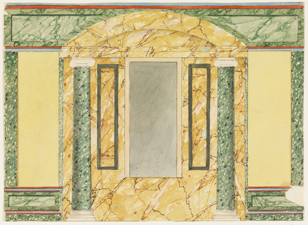 Drawing, Wall Elevation with Marbled Niche
