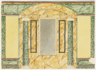 Horizontal composition illustrating the elevation of an interior wall with a yellow and green marble niche with a large simple rectangular mirror.