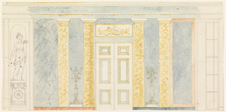 Side wall with paneled door center, marble pilasters either side, window far right, statue in a niche at left.