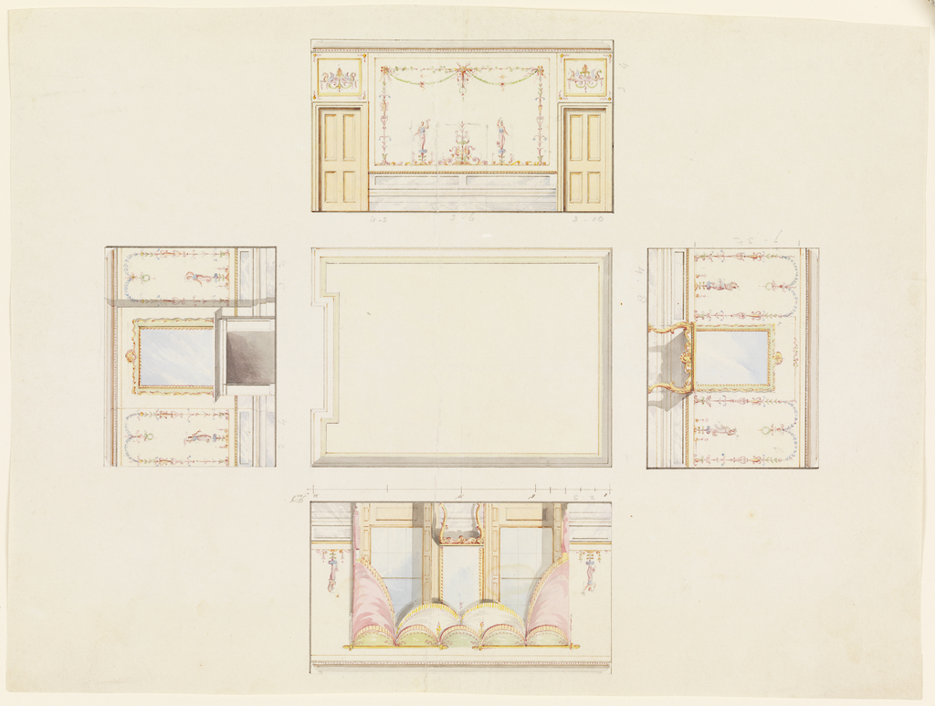 Vertical Rectangle: Ceiling center. Upper wall has console center, mirror above it. Right wall has windows either side of console with mirror above it. Lower wall has fireplace center, mirror above it. Left wall has decorated panel, doors to left and right.