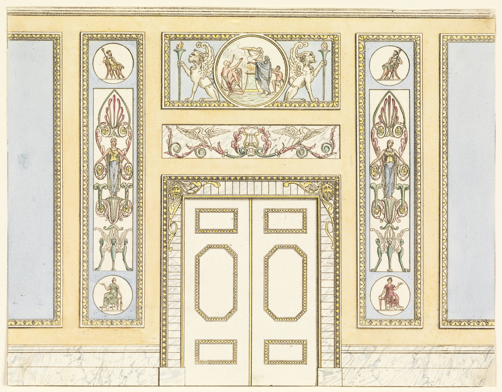 Elevation of a wall with double doors center.  Blue panels with classical motifs above and on either side.