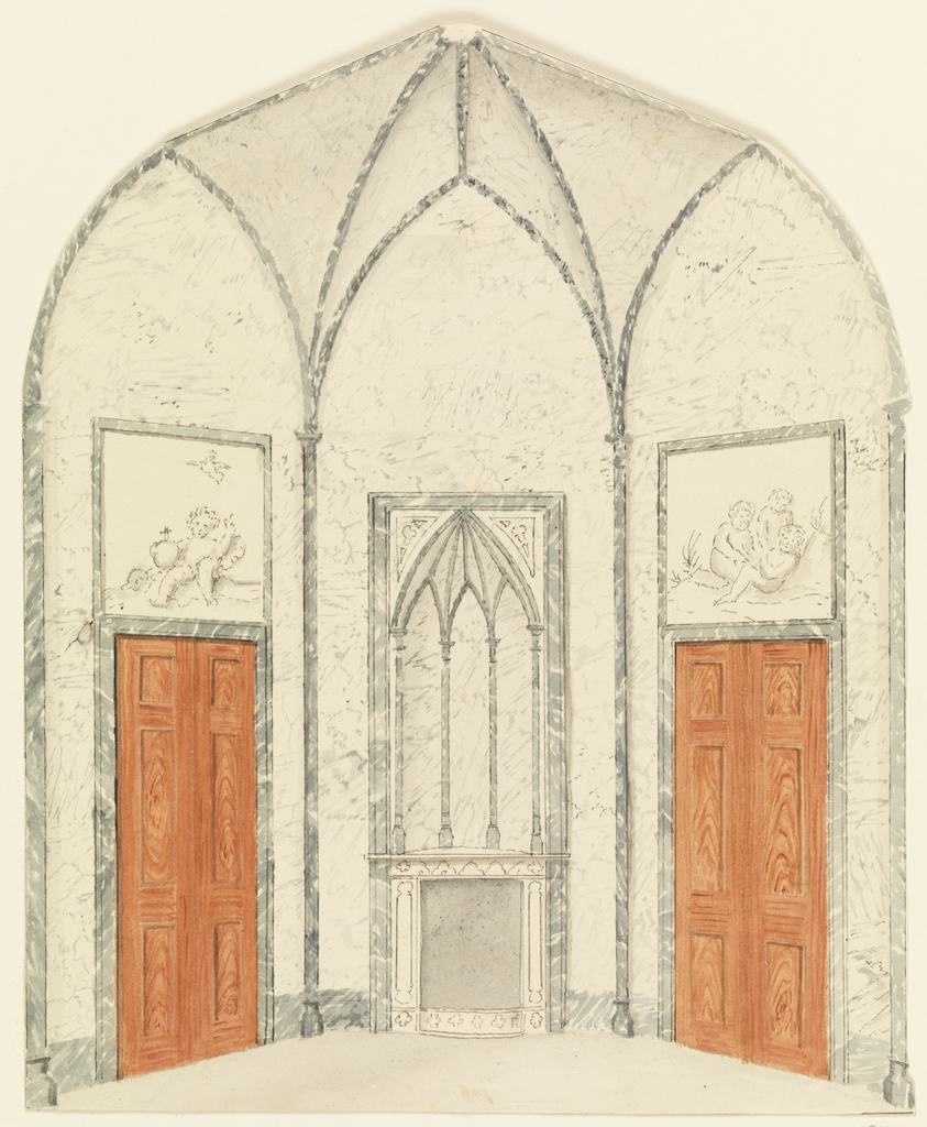 Drawing, One end of an Octagonal Room in Gothic style