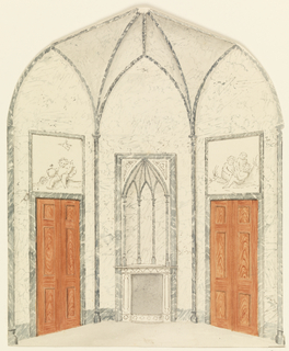 Elevation of a marbelized room in Gothic style, fireplace in center section, wooden doors at left and right.