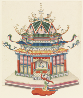 Vertical rectangle. An octagonal building having three tiers of roofs with dragon finials. The structure is enclosed, but the side facing the spectator is open, showing a woman seated before a table. A dancing figure appears in front of the pavilion.
