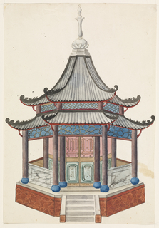 Vertical rectangle. An octagonal structure standing on a podium, columns supporting the two-tiered pagoda roof. A narrow porch surrounds the enclosed inner cove of the building. A short flight of steps leads to the entrance of the pavilion.