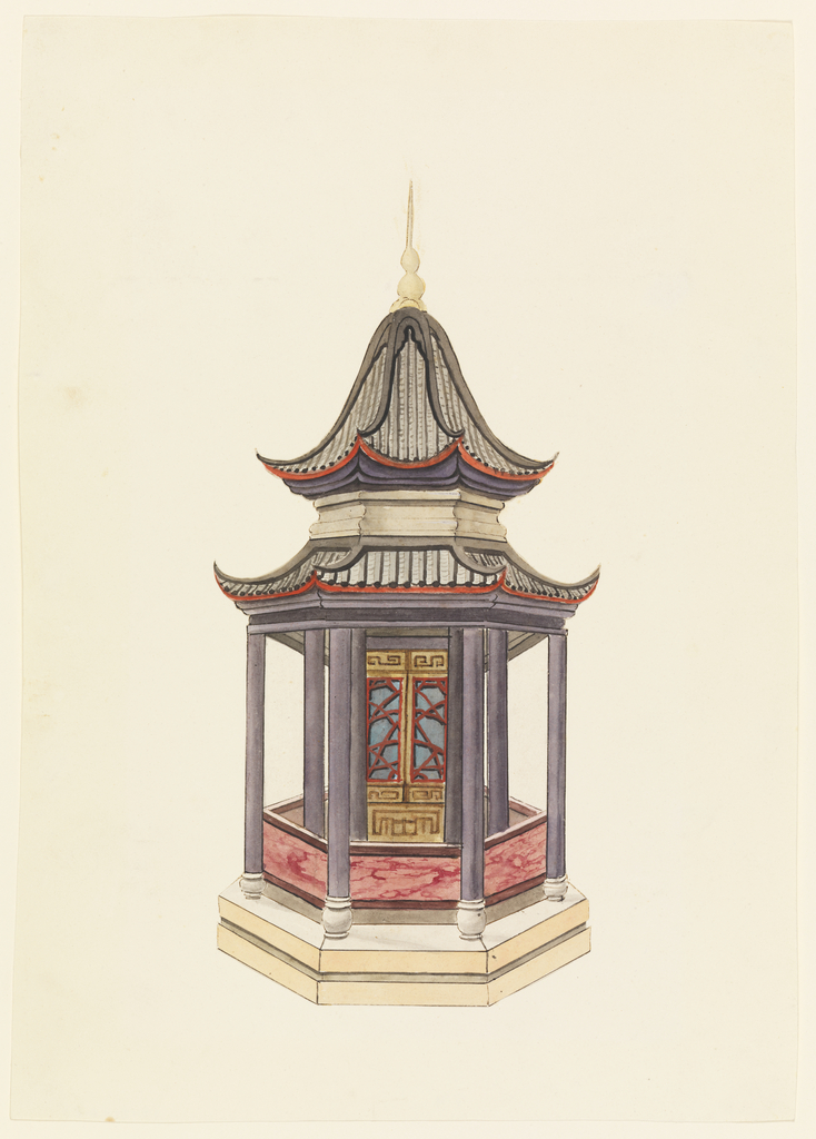 Vertical rectangle. A hexagonal building standing on a podium, columns supporting the two-tiered pagoda roof. A narrow open porch encircles the inner enclosed cove of the structure. Around the porch a balustrade with marbleized decoration.