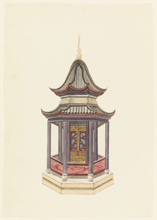 Vertical rectangle. A hexagonal building standing on a podium, columns supporting the two-tiered pagoda roof. A narrow open porch encircles the inner enclosed cove of the structure. Around the porch a balustrade with marbleized decoration.  Original album associated with this collection still exists.  See 1948-40-1 accessory
