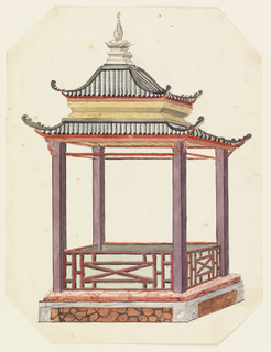 Vertical rectangle. An open pavilion, rectangular in plan, with a two-tiered pagoda roof supported by four columns. The structure stands on a podium. A low balustrade, decorated with lattice-work, encircles the porch.