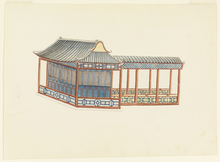 Horizontal rectangle. Design for a small rectangular building with a pagoda-like roof, supported by tall columns. A narrow open porch encircles the inner shell of the staircase. At right, leading from it, an open passageway, with a roof carried on columns.  Original album associated with this collection still exists.  See 1948-40-1 accessory