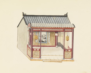 Horizontal rectangle. A rectangular structure with a gabled roof. The open porch is supported by columns. On the rear wall of the porch is a large painting of a Chinese landscape flanked by two narrow panels bearing Chinese characters. Chinese lanterns are hung from the roof of the porch.