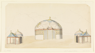 Designs for three pavilions. A large tent-like pavilion in the Indian style at center, flanked by two smaller ones. Outline indication of mountains in the background. Original album associated with this collection still exists. See 1948-40-1 accessory.