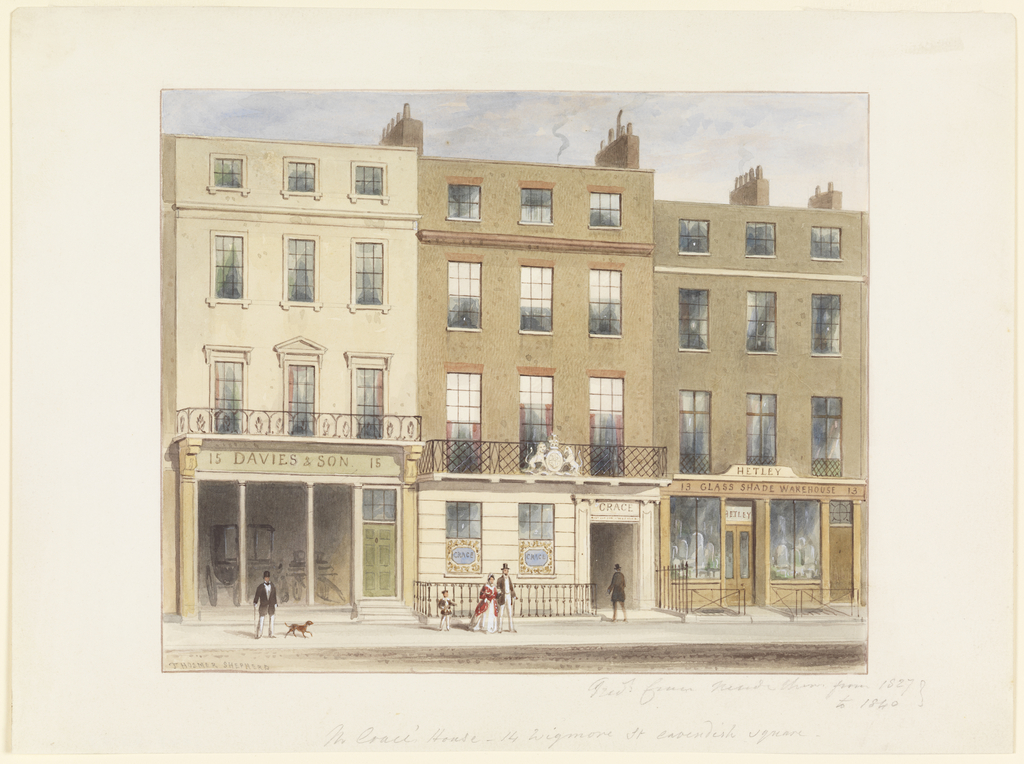Drawing, Exterior, Frederick Crace and Son Establishment, 14 Wigmore Street, London