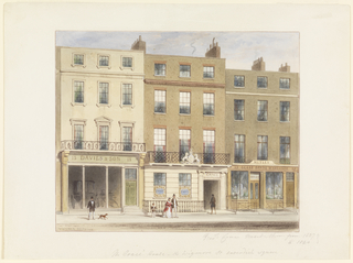 "Horizontal rectangle. Exterior of three buildings, the central one bearing the Crace name over the entrance and on the two windows on the lower floor. The second story balcony bears the royal arms. Carriage-maker's Establishment, left (Davies and Son): ""Glass shade-warehouse,"" right."