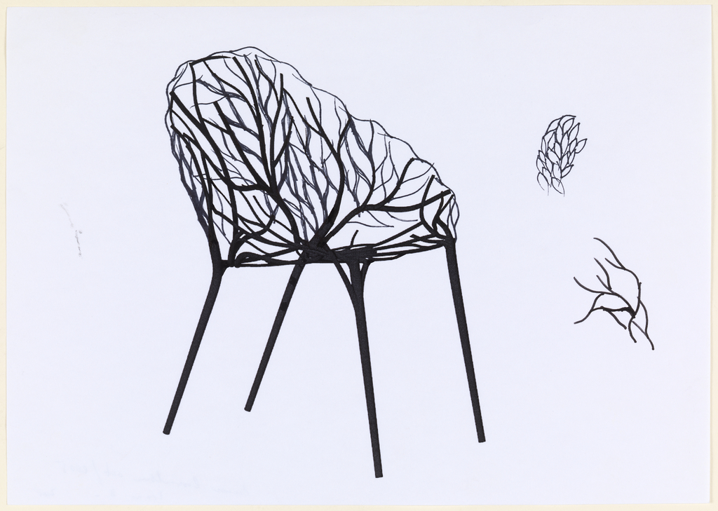Chair design in form of a growing tree or bush with crossing and intertwined veins forming seat and back. Two sketches at right of leaves intertwined and branching twigs.