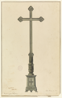 A triangular pedestal resting on three lion paws supports a round shaft decorated with a festoon leads to a cup-shaped element decorated with leaves above which rises a slender cross.  Two pen and brown ink framing lines.