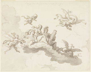 "Seated upon clouds are a woman beside a lamb and an armoured woman holding a column.  An angel holding the tiara flies over them, another one shouldering the keys at left, a genius blowing the trumpet, at right.  Four animals are shown at the foot of the group: a seal, a unicorn, an eagle with a double head (referring to Austria or Russia), a lion crouching on a fork (England).   Written on top, in pencil: ""Trionfo della Mansuetudine e della Fortezza.""  [Triumph of Gentleness and Strength]"