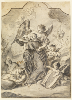 "Recto:  Vertical composition framed by a thick line of pen and black ink in the shape of a tombstone with concave corners.  Depicted is angel supporting the collapsing saint.  One points at an open book in the foreground at right.  In the foreground at left are the upper parts of a Demon and of a woman chained to a stone wall.  In the background at right is the Purgatory, with an angel liberating a soul.  The composition has been squared in graphite.   Verso: Above is a head, shown in profile; outlined.  Below folded hands.  Written below: ""Mergolo"" (erased) 1776/Egreg[ia] (erased) S[ignor]a E..."