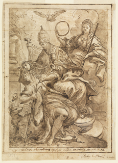 Drawing of falsehood depicted as a woman falling over while a bishop pulls off her mask.  He is seated with a chalice in his other hand.  Looking over his shoulder is the Virgin Mary (?) and a bird flies over at center.