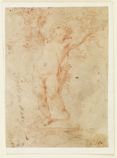 Cupid shown from the front, standing upon a base looking upward.