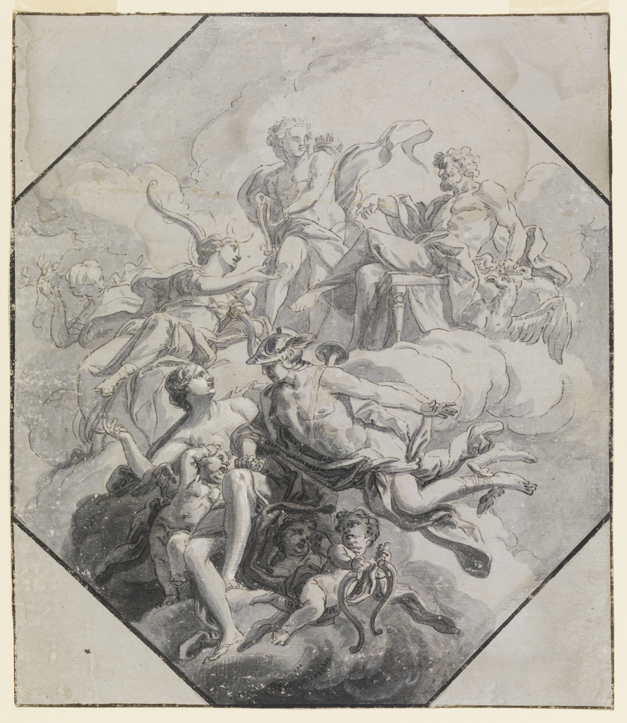 Inscribed in a square. Upper center, the seated Diana converses with Jupiter; Apollo stands between the two.  Lower center, the flyng Hermes puts his right hand on the left leg of the seated Venus.  A putto carriesthe broken bow of Cupid away.