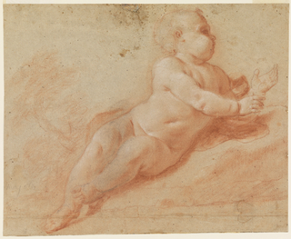 Figure of a nude child, turned to the right. In the background, at left, a tree.