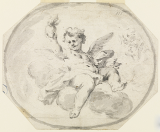 Octagonal.  A cupid sits upon clouds, raising with his right hand a burning heart.  At right are two heads of cupis.  Framed as a horzontal ovoid.  Squared.  On verso are accountings
