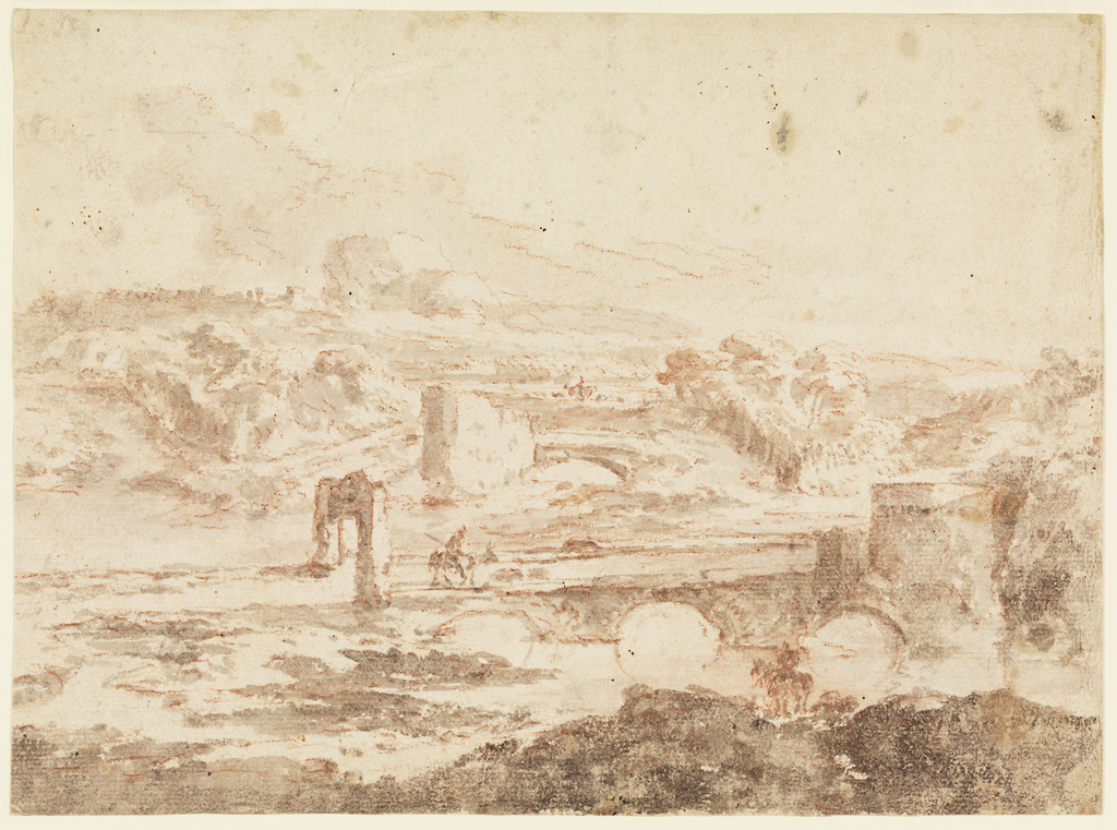 A figure on horseback rides across a triple-arched stone bridge with fortified ruined approaches in a hilly landscape. Another mounted figure appears in the lower right foreground. In the distance a single-arched bridge and several buildings can be seen. Verso: slight sketch of a complex of church-like buildings set in a hilly landscape.