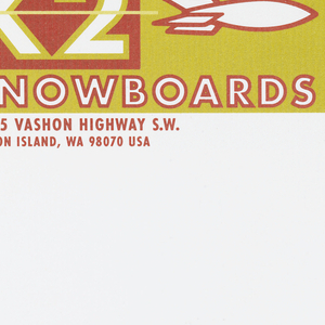 Envelope featuring a large golden yellow rectangle at the top of the page with a rust red smaller rectangle in left top corner with K2 in white font with golden yellow outlines. Lighter yellow line runs through center of K2 text and connects to a white rocket with a rust red outline to right of rust red rectangle. Under the smaller rust red rectangle SNOWBOARDS written in white font with rust red outline. Beneath golden yellow rectangle in rust red text: 19215 Vashon Highway S.W./ Vashon Island, WA 98070 USA.
