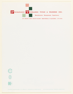 Letterhead with 5 lines of red text and a checkerboard pattern in shades of green and red.  1st line: Light red square. 2nd line: Dark green square to the left of square above. 4th line: a light green square followed by a dark green square.