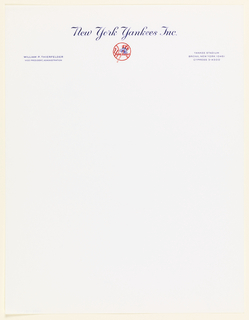 Letterhead with blue text across upper margin: New York Yankees Inc. / WILLIAM P. THIERFELDER / VICE PRESIDENT, ADMINISTRATION; YANKEE STADIUM / BRONX, NEW YORK 10451 / CYPRESS 3-4300; Yankees logo in red and blue.