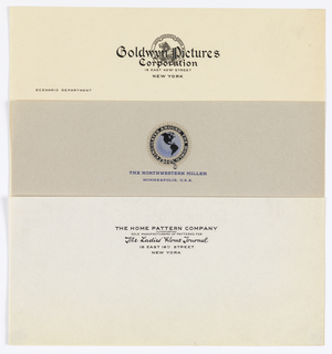 Three examples of letterhead:  Top: in black and white centered at top seal with reclining lion surrounded by banner.   Center: seal with blue globe showing the Americas. Gold rays surround the globe as well as a a belt.   Bottom: name of enterprise and mailing information at upper center.