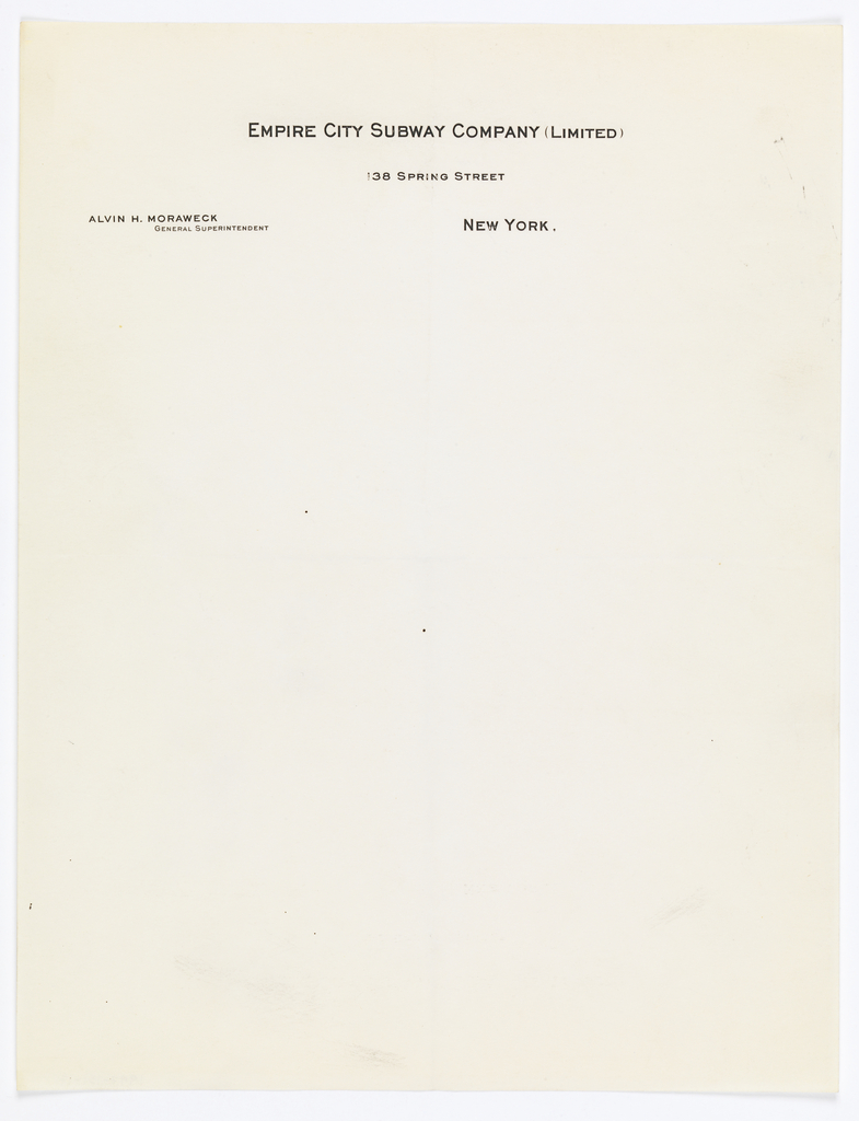 Letterhead for Empire City Subway Co.