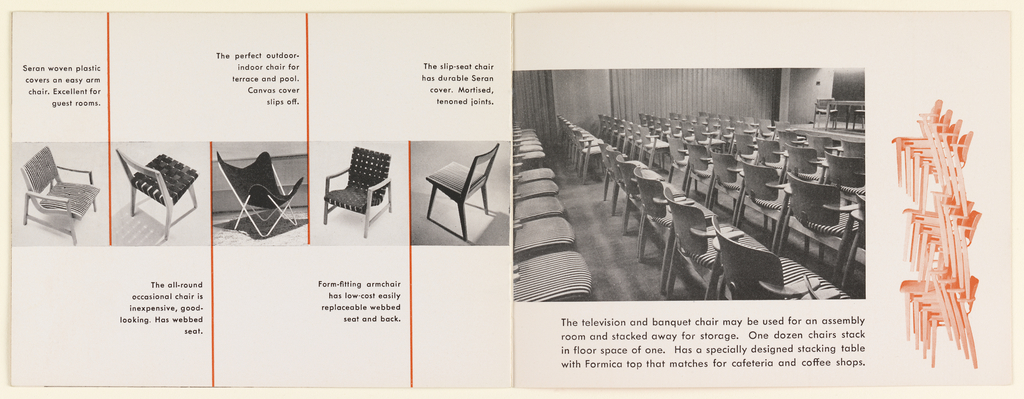 Six page Knoll booklet with a red-orange cover with KNOLL spelled out in elongated, white outlined, serif font. The inside pages feature black and white photographic images, red graphics, and red and black text. The exterior and interior of the El Panama Hotel is featured, showcasing Knoll furnishings.