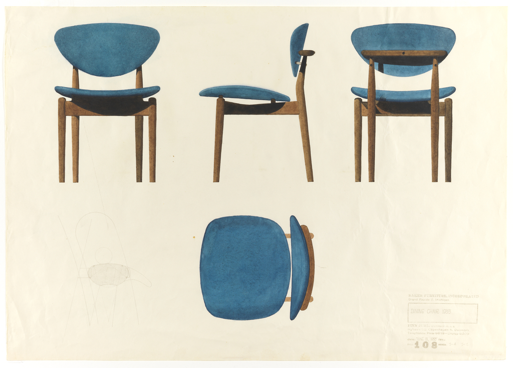 View of front, side, and back of wood and blue upholstered side chair, from left to right across upper half of sheet.  Plan of side chair in the lower middle of sheet, with pre-printed multiple image of chair at lower left.