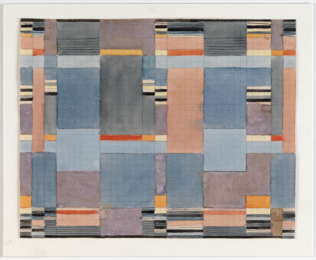 Rectangular sheet consisting of large square blocks of blues, purples, steel gray, and salmon, bordered on all sides by smaller blocks of color and short lines of black ink, creating a staccato rhythm.
