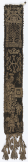 Tapestry band in black and silver showing religious motifs: tabernacle with crowned Host, the handkerchief of Saint Veronica, a censing angel and the letters S.D.G.A., finished with tassels at one end.