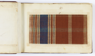 Ninety-eight textile samples mounted on hand-made paper and bound in gold-tooled red leather. 53 silk samples; 28 silk-and-cotton samples; 16 cotton; and 1 linen.