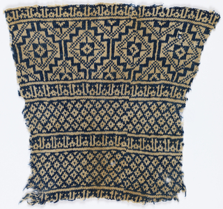 Fragment of a garment knitted in deep blue and white thick cotton yarn, with broad bands of geometric pattern separated by narrow bands of Kufic script repeating the name of Allah.