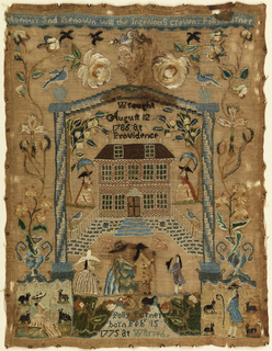 This sampler, made at the Polly Balch School in Rhode Island, shows an arched framing device enclosing a scene with a brick building and several figures of fashionably dressed men and women. Urns of flowers form a floral border on three sides. At the top a short verse: 