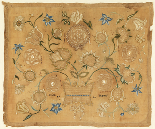 A basket of large flowers fills the entire field. Some flowers are embroidered in polychrome silks, while others feature cutwork with needle lace fillings. With the inscription Lydia Sheward 1795.